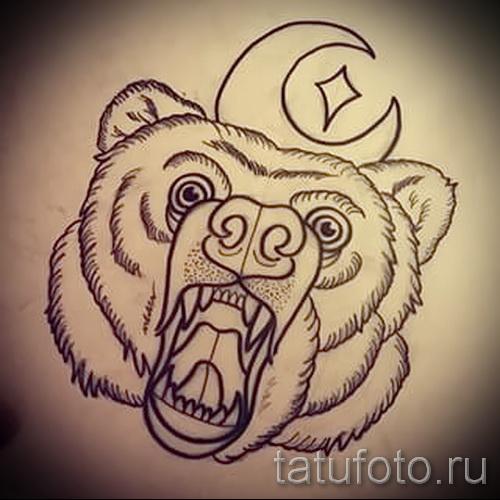 Эскиз тату медведь 15