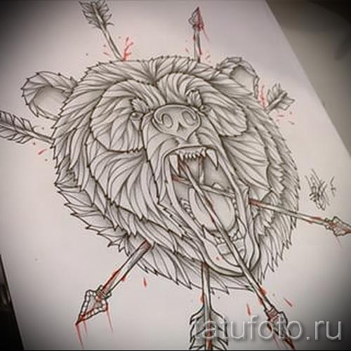 Эскиз тату медведь 23