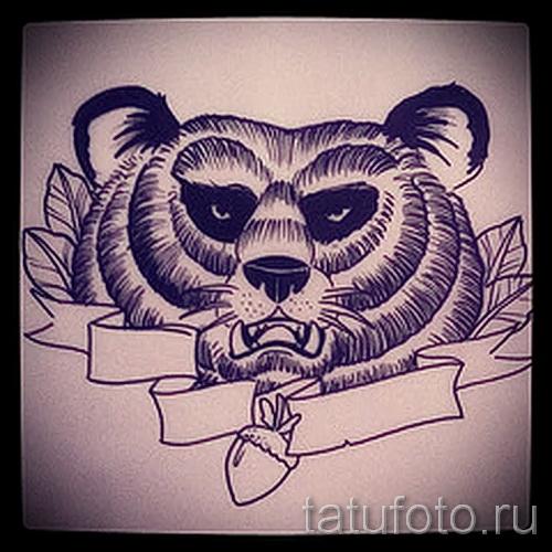 Эскиз тату медведь 24