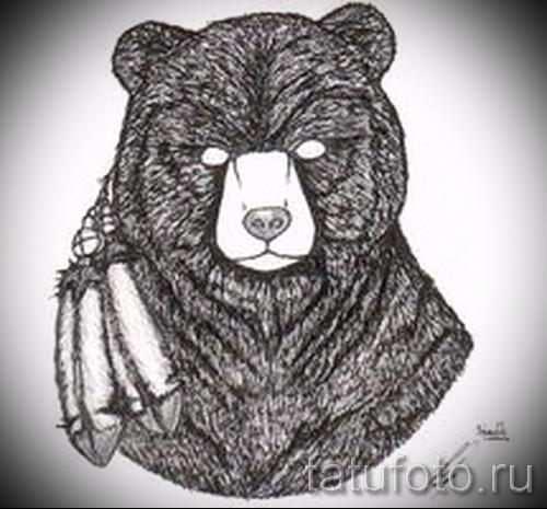 Эскиз тату медведь 28