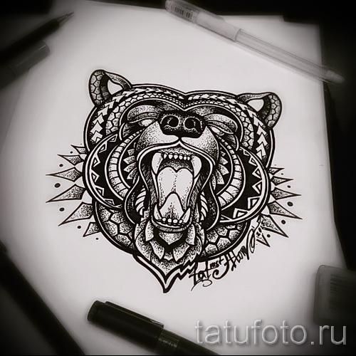 Эскиз тату медведь 34