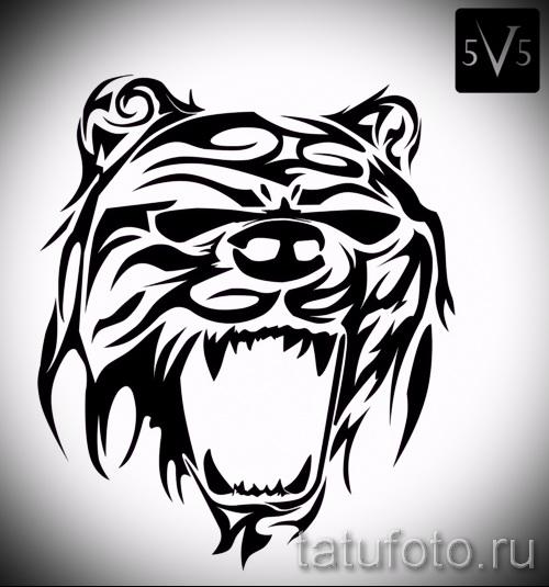 Эскиз тату медведь 38