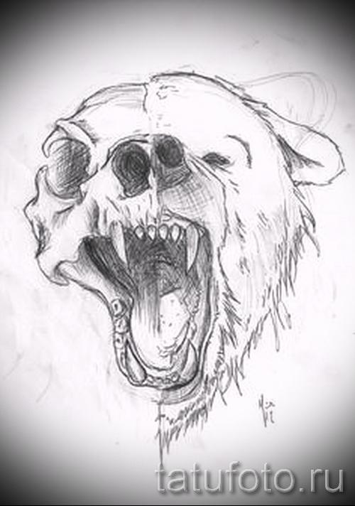Эскиз тату медведь 4