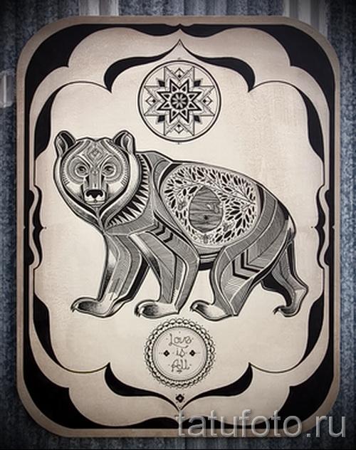 Эскиз тату медведь 41
