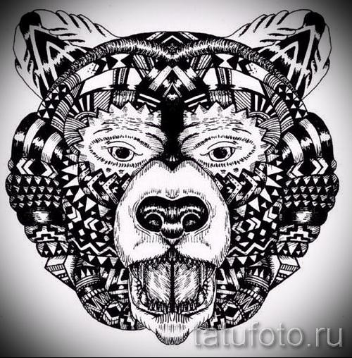 Эскиз тату медведь 46