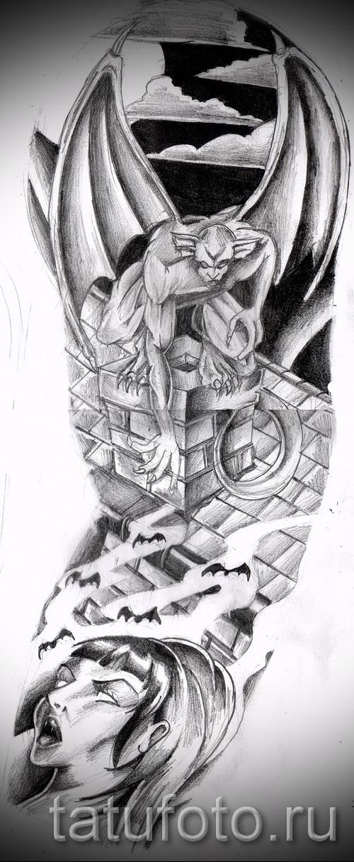 демон с крыльями и вампир - ТАТУ РУКАВА ЭСКИЗ