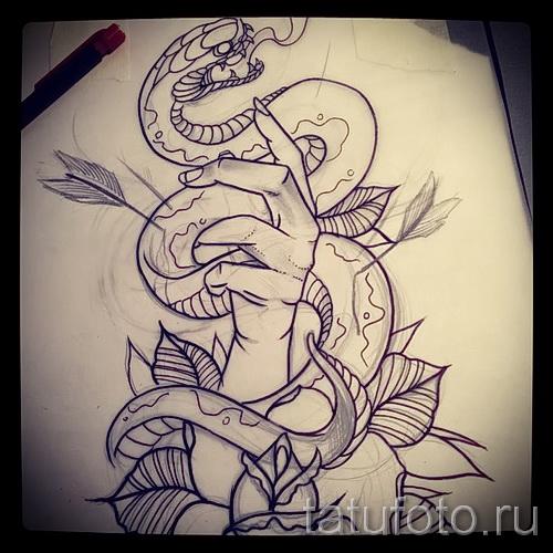 змея - рука и цветы - ТАТУ РУКАВА ЭСКИЗ
