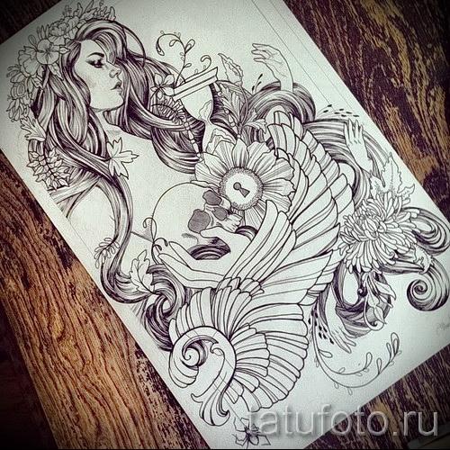 красивая девушка - череп - песочные часы и крылья - ТАТУ РУКАВА ЭСКИЗ