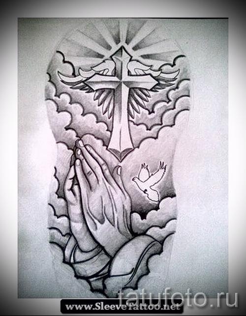 крест - голубь и руки молящегося - ТАТУ РУКАВА ЭСКИЗ