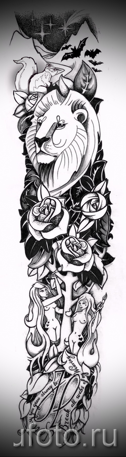 лев - розы и надписи - ТАТУ РУКАВА ЭСКИЗ
