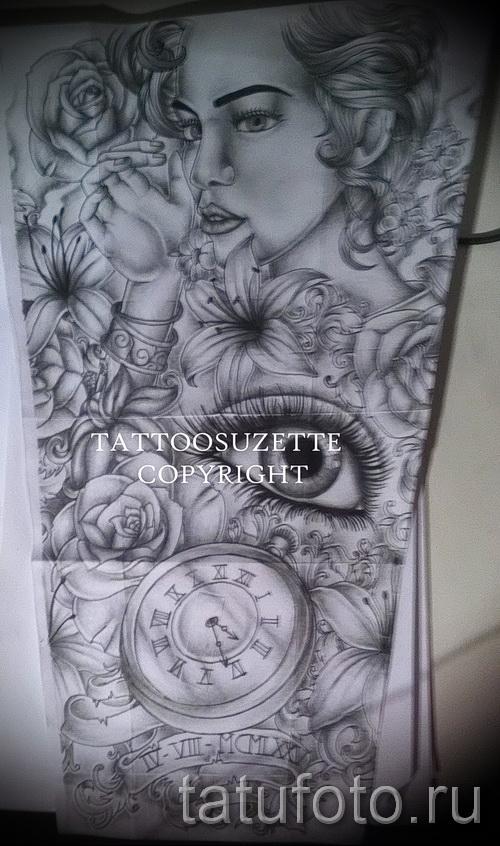 портрет - часы и цветы - ТАТУ РУКАВА ЭСКИЗ