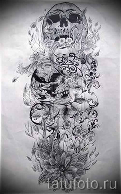 страшные черепа и цветы - ТАТУ РУКАВА ЭСКИЗ