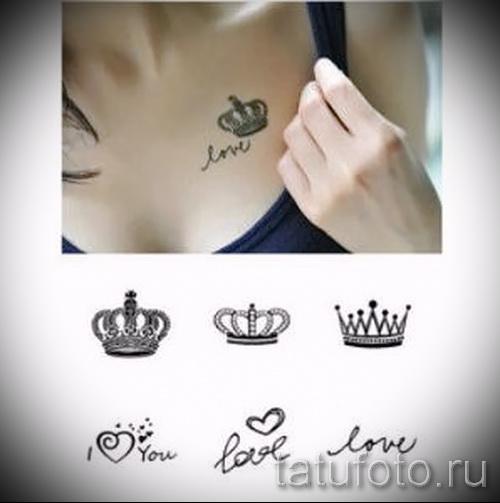 тату корона для девушек - на левой части груди