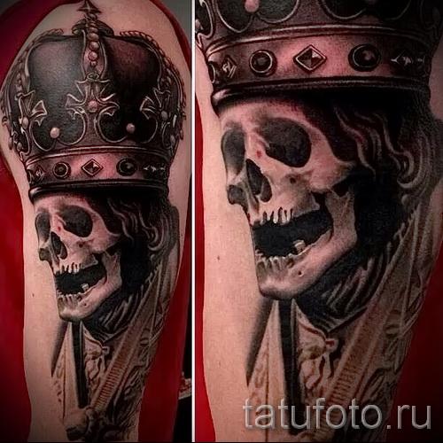 тату череп с короной - реалистичная работа