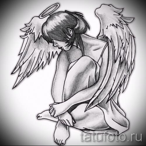 эскиз тату ангел - девушка которая сидит скрестив ноги