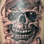 Армейская татуировка - РВДУ - и череп в берете
