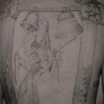 Блатная тату с колоколами в которые звонят - отсидел весь срок от звонка до звонка