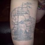 Блатная тату с парусником - знак вора гастролера