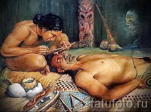 Древняя татуировка - процесс нанесения на лицо
