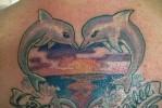 Тату дельфин целует дельфина – в форме сердца