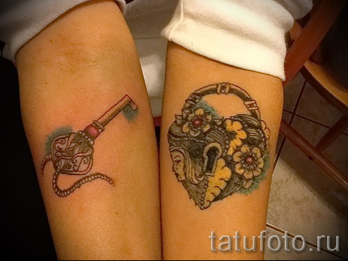 Тату замок и ключ фото пример - красивый вариант в цвете на руке