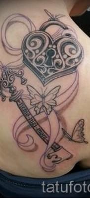Тату замок и ключ фото пример – на плече и лопатке у девушки