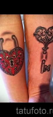 Тату замок и ключ фото пример – парная тату на руку для пары людей которые любят друг друга