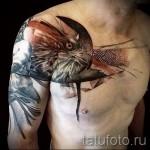 Тату орел - необычная работа на плече и груди