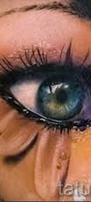 Тату слеза под глазом – пример на фото –  4