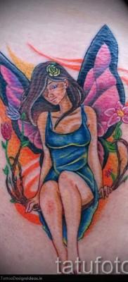 Тату фея и цветы – цветная красивая татуировка