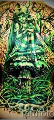 Тату фея сидящая на грибе – работа на всю спину – большой красивый рисунок