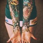 Фото нью скул тату - рукава на женские руки