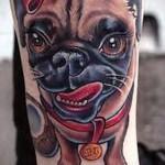 Фото нью скул тату - собака с бантиком
