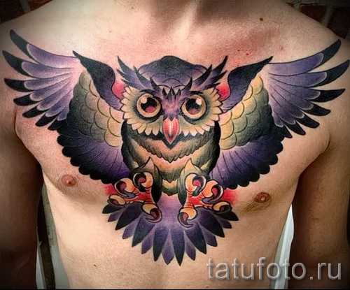 Фото нью скул тату - сова расправив крылья на груди парня