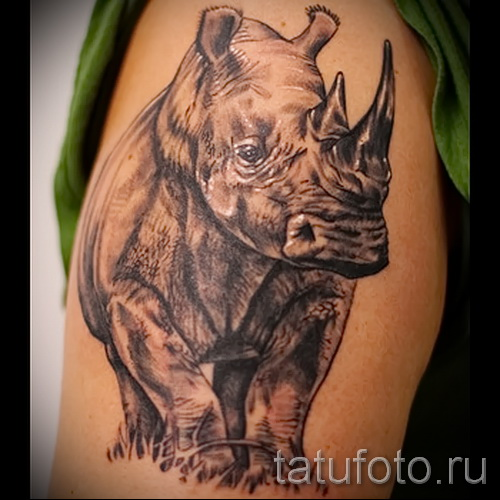 Фото пример тату носорог - вариант на руку