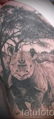 Фото пример тату носорог – на плече и руке