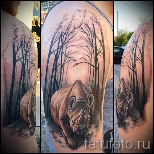 Фото пример тату носорог - реализм на всю руку