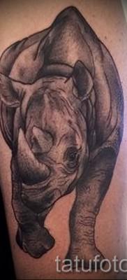 Фото пример тату носорог – серая татуировка