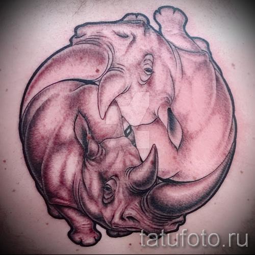 Фото пример тату носорог - символ инь-янь