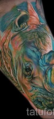 Фото пример тату носорог – сочная цветная татуировка на руке