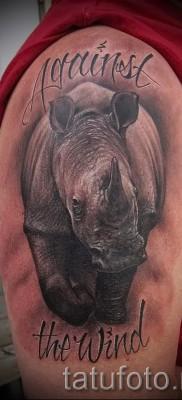 Фото пример тату носорог с надписями на правом плече для мужчины
