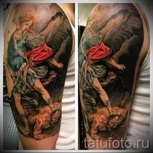 Фото тату архангел Михаил - красивая цветная тату для парня