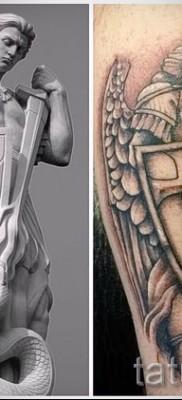 Фото тату архангел Михаил – пример татуировки со статуи