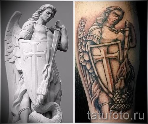 Фото тату архангел Михаил - пример татуировки со статуи