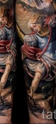 Фото тату архангел Михаил – тату рукав выполненный в цвете