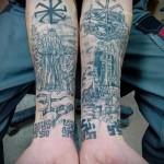 Фото тату коловрат и воины - татуировка на обе руки