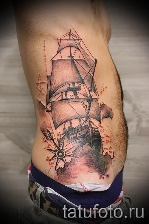 Татуировка корабль - значение, эскизы тату и фото