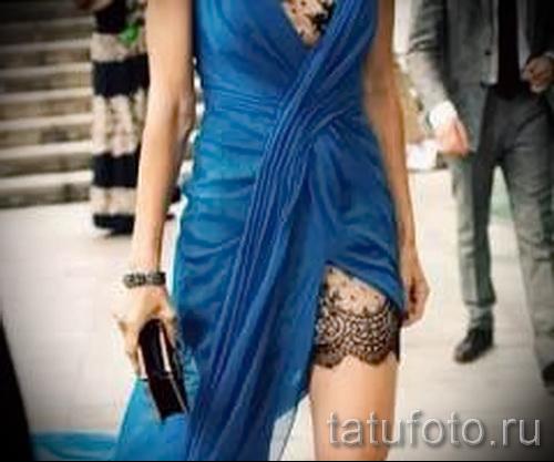Фото тату подвязка под длинное платье впол