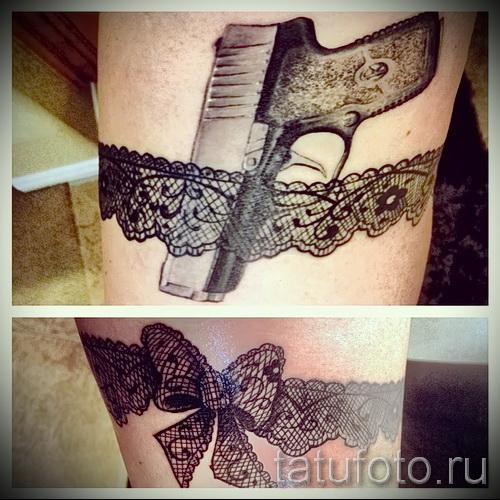Фото тату подвязка черного цвета и пистолетик
