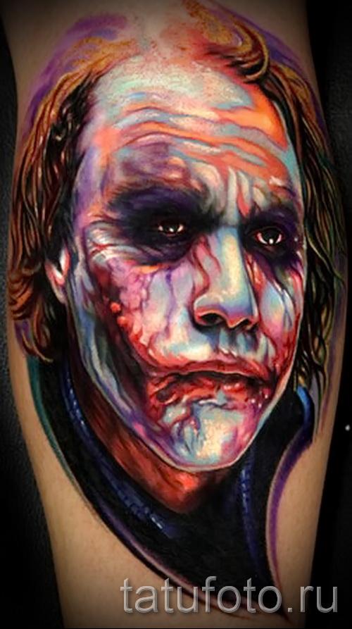 фото пример тату джокер - портретная работа на руку